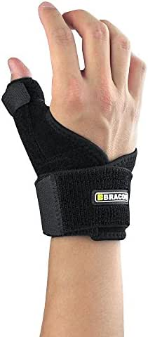 Bracoo Thumb Splint Support Brace, Spica, CMC Splint for Arthritis, De Quervain's, Carpal Tunnel Pain Relief, Reversible, Black, TP30