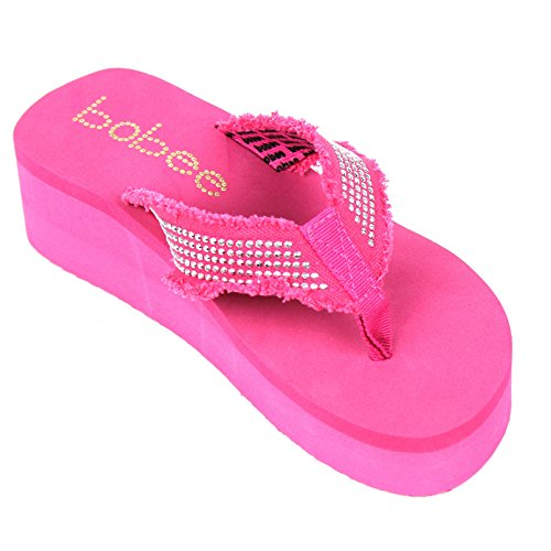 Tongs Femme Babe Cloutée Plate-forme Tongs Sandales Chaussures Rose * Bobee