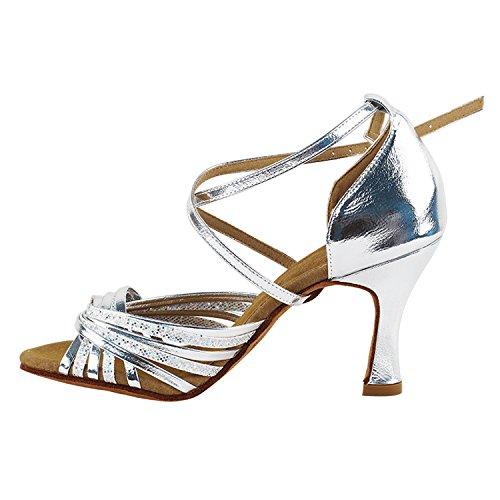 Zapatos De Oro De La Paloma 50 Tonos De Plata Zapatos De Baile De La Danza Collection-ii, Comodidad Bombas De La Boda: Zapatos De Salón De Mujeres Para América, Tango, Salsa, Columpio, Teatro Arte Por Fiesta (2.5, 3 Y 3.5 Talones) S1001 Escala De Plata Y Plata
