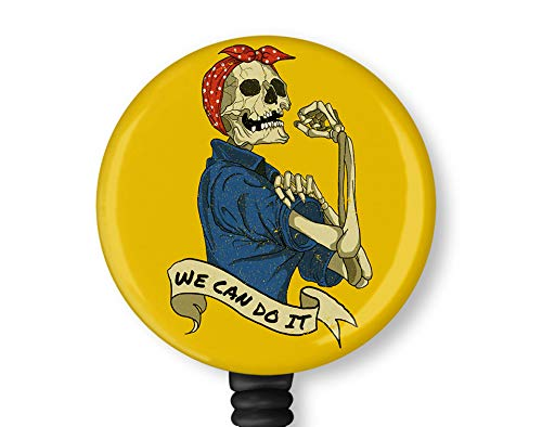 We Can Do It Halloween Skull Retractable ID Card Badge Holder with Alligator Clip Nurse Badge ID Card Name Tag Badge Reel Clip on Card Holders Badge Clip