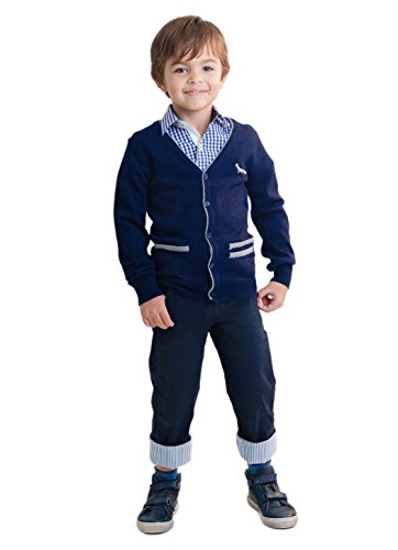 - Dakomoda Toddler Boy's Blue Cashmere Wool Blend Cardigan Top Fine Knit Navy V-Neck Sweater 6T