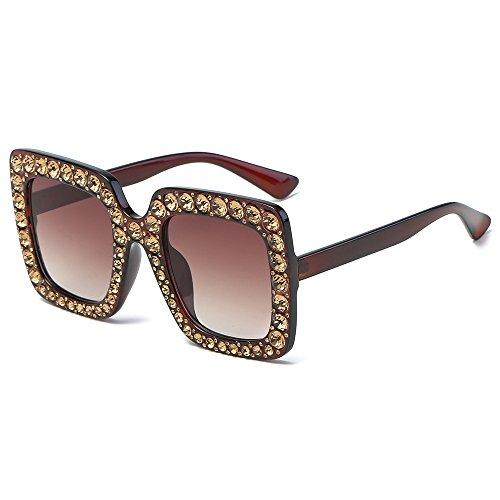 (JJLIKER Square Rhinestone Sunglasses Novelty Oversized Celebrity Shades Women Sparkling Crystal Square Thick Frame)