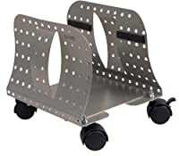 Allsop Metal Art CPU Caddy, Adjustable Width Mobile Computer Stand with 4 Caster Wheels - Pewter (27761)