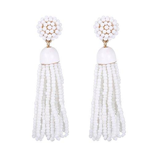 White Bead Earrings - YINLI Women's Beaded tassel earrings Fringe Drop Dangle Earrings Fashion Jewelry(White)