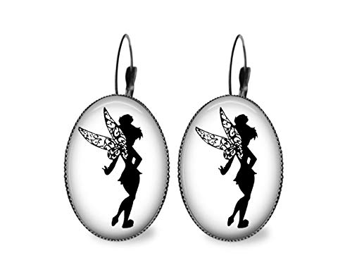 (Tinkerbell silhouette Oval Earrings- Black)