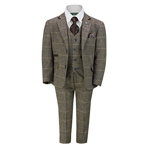 Boys Kids 3 Piece Suit Vintage Herringbone Tweed Check Wool Blend Smart Retro Age 1-15 -