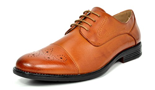Bruno Marc Men's Halsted-01 Brown Leather Lined Dress Oxfords Shoes - 9.5 M US by BRUNO MARC NEW YORK