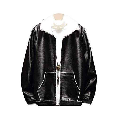 Howme PU Vogue Leather Fleece Black Oversized Brumal Thickened Men Jackets rxYqH4pwry
