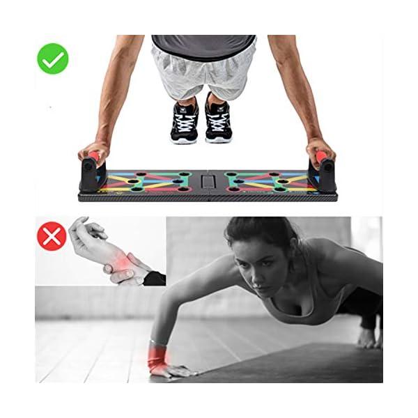 Push Up Rack Board, 12 in 1 pieghevole multifunzionale per allenamento a casa Attrezzature per il fitness, Telaio per…