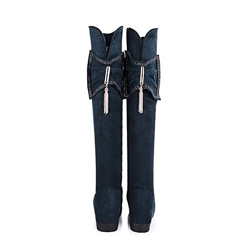Round 7 US Blue Heighten PU Short Inside AmoonyFashion B M Closed with Solid Boots Hollow Toe Frost Womens Plush Out and AEgxR