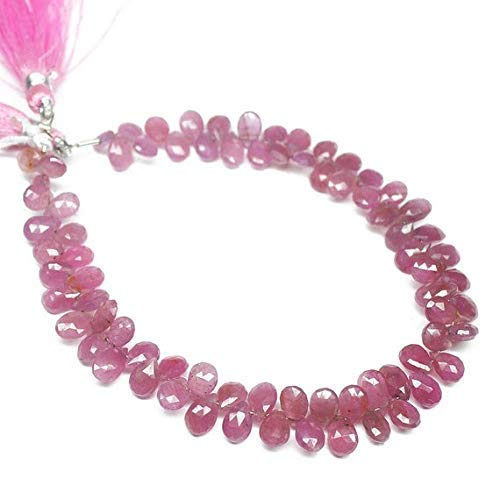 (Super Fine Quality Gems Jewelry Natural Pink Sapphire Faceted Briolette Pear Drop Gemstone Craft Loose Beads Strand 8