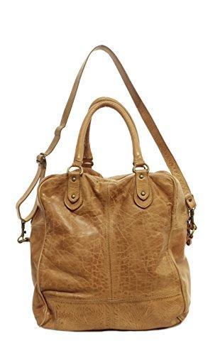 AGB, Borsa Donna Shopper, In Vera Pelle, Vintage, Modello MARTA, Made in Italy