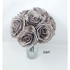 "12"" Soft Touch Rose Bouquet Ash Gray Silk Wedding Bridal Bridesmaid Flowers Decoration 30399as 111"