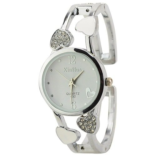 ELEOPTION Bracelet Design Quartz Watch with Heart Rhinestone Stainless Steel Band Free women's Watch Box (Loving-White)