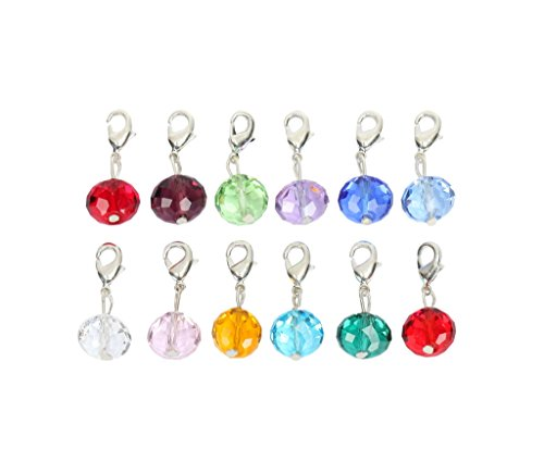 Birthstone Dangle - 1 Set Clip On Dangle Birthstone Charms 8x6mm Austrian Rondelle Crystal Beads with Lobster Clasp (12 birthstone charms) 12BSS1R-8-SL
