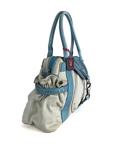Playboy Vintage Canvas/Leather Women Bag Beige/Cyan PA1463