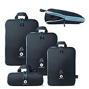 MNT10 Packtaschen mit Kompression S, M, L, XL I Blau I Packwürfel mit Schlaufe als Koffer-Organizer I leichte…