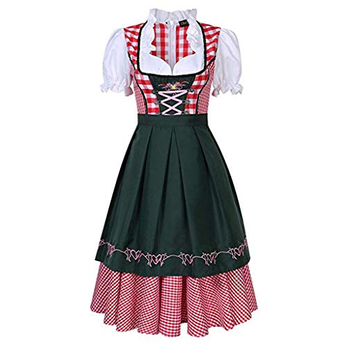 VIccoo Womens Beer Costume Oktoberfest Halloween Party Maid Plaid Fancy Dress Plus Size - 3X - Large ()