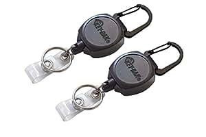 "Key-Bak Sidekick Professional Heavy Duty Self Retracting ID Badge / Key Reel with Retractable Kevlar Cord, 24"" Black (2 Pack)"