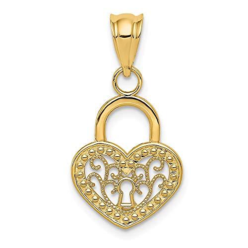 - 14k Yellow Gold Filigree Heart Key Hole Lock Pendant, 12mm