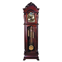 Major-Q 9001408 77 H Traditional Style Dark Cherry Grandfather Floor Clock with 2 Wood Framed Glass Doors