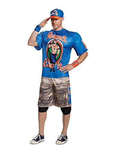 Disguise Men's John Cena New Muscle Adult Costume, Blue, L/XL (42-46) -