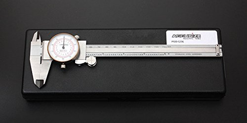 Accusize - 6'' x 0.001''/150mm x 0.02mm, Inch/Metric Dual Needle Precision Dial Caliper Stainles Steel, In Fitted Case, #P920-S236