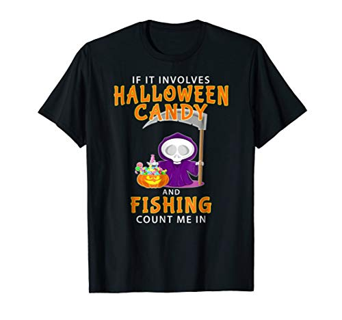 Halloween Fishing T-shirt Funny Last Minute Angling Gift