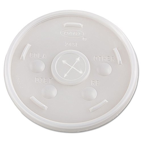 Office Realm DART 24SL05 Plastic Cold Cup Lids 24oz Translucent 500/Carton by Office Realm