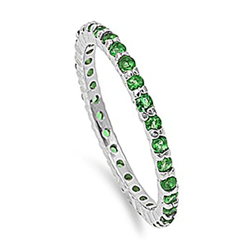 Simulated Emerald Stackable Thin Eternity Ring New .925 Sterling Silver Band Size 7