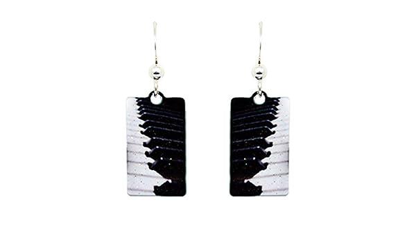 Piano Keys Earrings by dears Non-Tarnish Sterling Silver French Hook Ear Wire