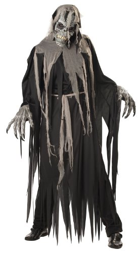 Skeleton Zombie Adult Mens Costumes (California Costumes Men's Crypt Crawler Costume, Black/Grey,Large)