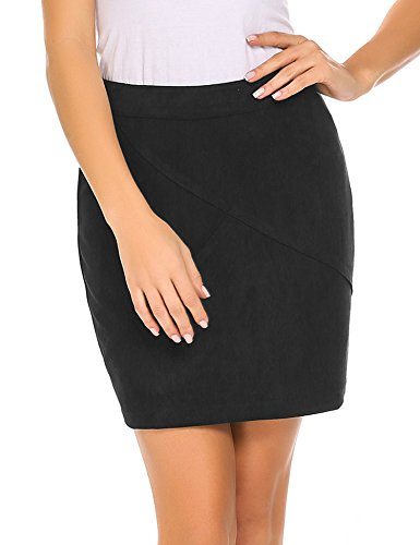 Zeagoo Women Classic High Waisted Faux Leather Bodycon Slim Mini Pencil Skirt,Small,Black (Stretch Skirt Tan)