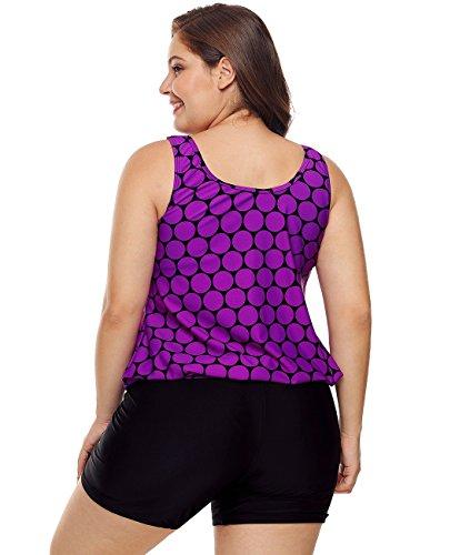 Lalagen Womens Plus Size Racerback Tankini Set Two Piece Swimwear with Boyshort Purple XXXL by Lalagen (Image #3)