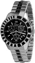 Christian Dior Unisex CD11431EM001 Christal Chronograph Diamond Black Dial Watch