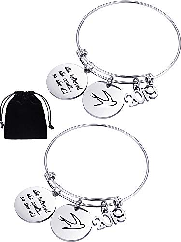 Chuangdi 2 Pieces Charm Graduation Gift Stainless Steel Bracelet Graduation Bangle with Letter for Graduates Gift Women and Girls (Style Set 2)