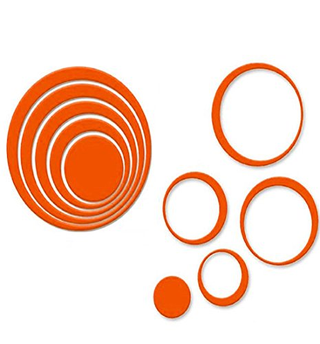 Photno 1 Set Indoors Decoration Circles Creative Stereo Removable 3D DIY Wall Stickers (Orange)