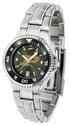 SunTime Purdue Boilermakers Competitor AnoChrome Ladies Watch with Steel Band and Colored Bezel