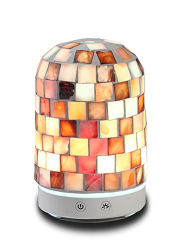 AA Real Sea Shell Mosaic Aroma Essential Oil Diffuser Aromatherapy Humidifier 120ml Glass Housing with 14-Color LED Light
