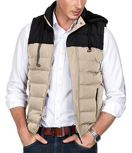 PAUL JONES Men's Sleeveless Jacket Puffer Vest Removable Hooded Quilted Vest Khaki