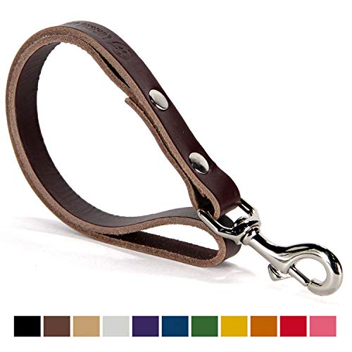 Logical Leather Traffic Lead - Full Grain Heavy Duty Genuine Short Leather Leash Best for Large Dogs - Brown