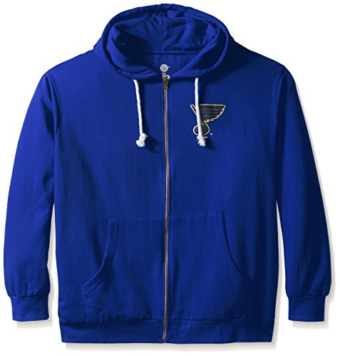 (Profile Big & Tall NHL St. Louis Blues Women's Full Zip Fleece Logo Distressed Screen Print Hoodie, 2X, Royal/White)