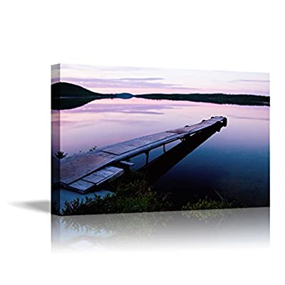 Canvas Wall Art - Long Dock at Sunset During a Beautiful Canadian Sunset | Modern Home Art Canvas Prints Giclee Printing Wrapped & Ready to Hang - 24