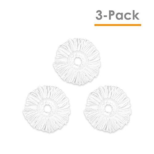 Hapinnex Microfiber Mop Heads  Lot Of 3X Microfiber Cloth Head Replacements   Compatible With Major Round Spin Magic Mop  With Diameter Between 6 1  To 6 5