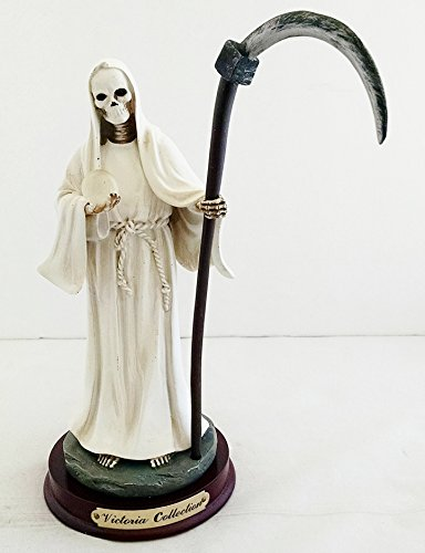 Blanc Santa (9 Inch Statue of La Santa Muerte Holy Death Grim Reaper White Blanca Skeleton)