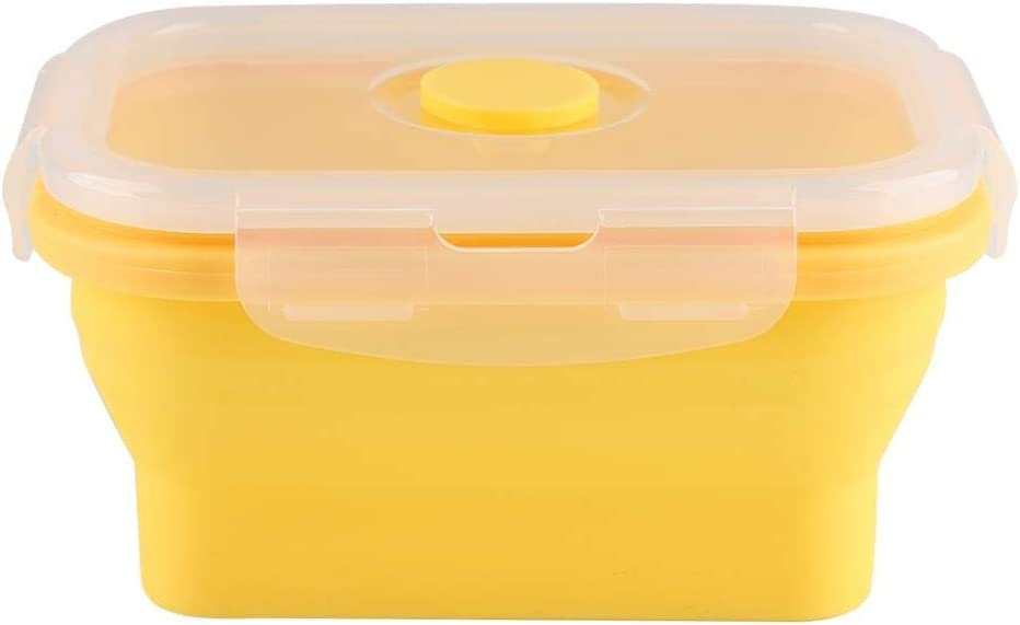 Collapsible Silicone Food Storage Container 350ml Lunch Bowl Silicone Box Collapsible Food Storage Containers with Airtight Lid and Vent Valve for Travel Hiking Camping - Microwave Freezer Safe