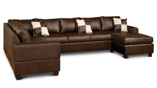 Bobkona 3-Piece Santiago Sectional Sofa Set with Arm Chaise Reversible in Walnut Color (6-seat) (Thomasville Sectional Sofas)