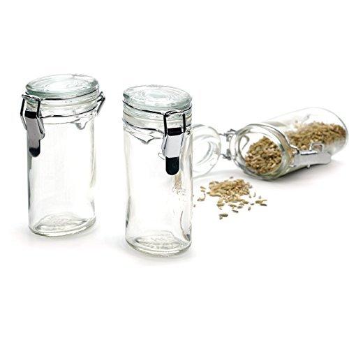 RSVP Oval Glass Spice Bottle Set of 6 (Oval Jar)