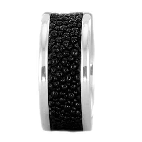 Ray Leather - 10mm Men's Titanium Ring Wedding Band High Polish Round Edge Stingray Leather size 12 SPJ