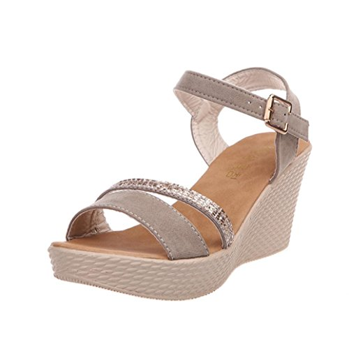 Bouche Coin Spartiate Beautyjourney Hauts Sandales Basket Plage Poissons Talon Forme Sandale Femmes Beige Sandales Plate Sandales Talons Femme R4zRw